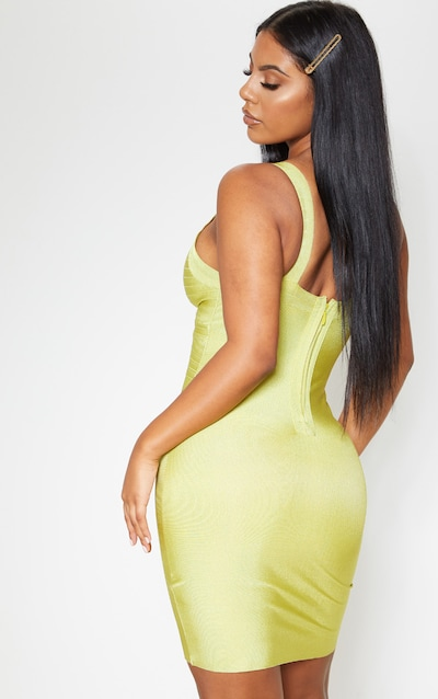 Lime Bandage Lined Cup Detail Bodycon Dress