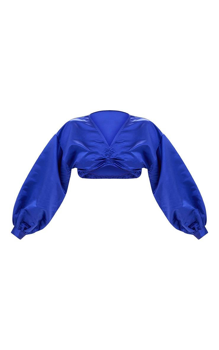 Blue Balloon Sleeve Satin Bardot Crop Top 3