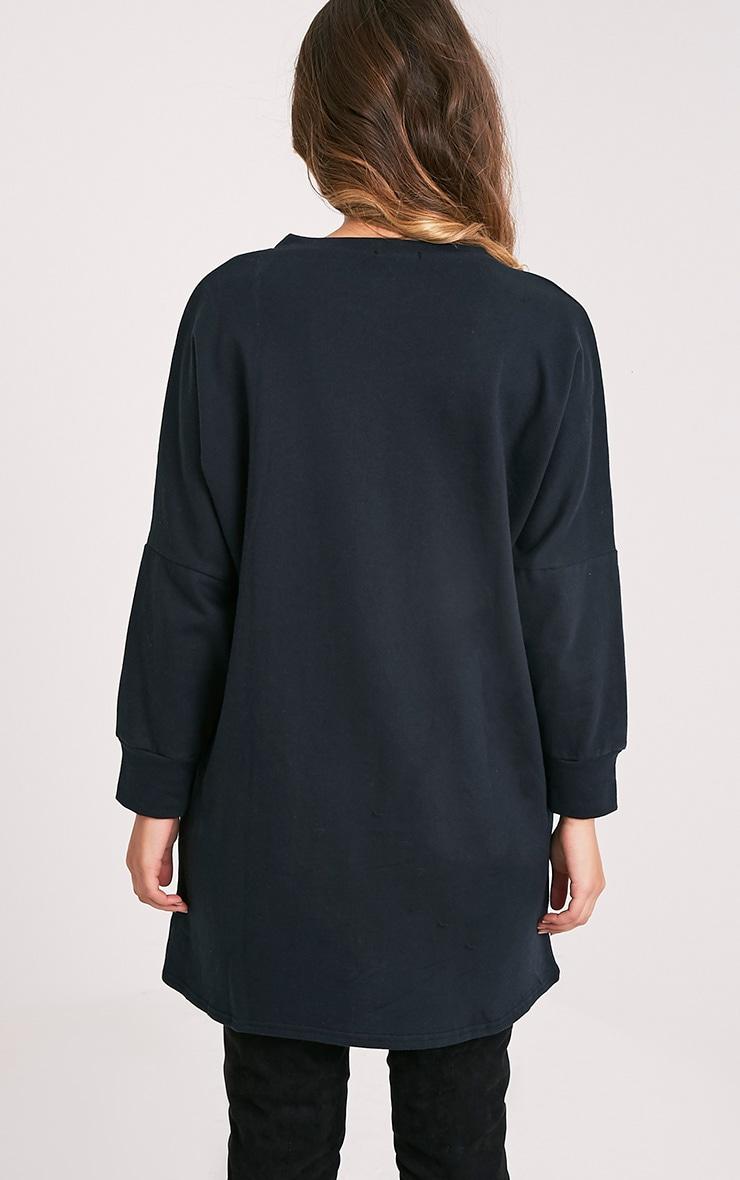 Laine robe pull surdimensionnée noire 2