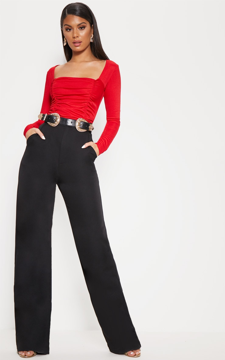 Red Ruched Long Sleeve Bodysuit 5