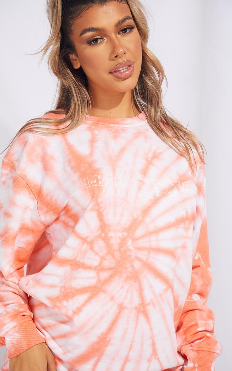 PRETTYLITTLETHING Orange Tie Dye Oversized Sweater Dress 4