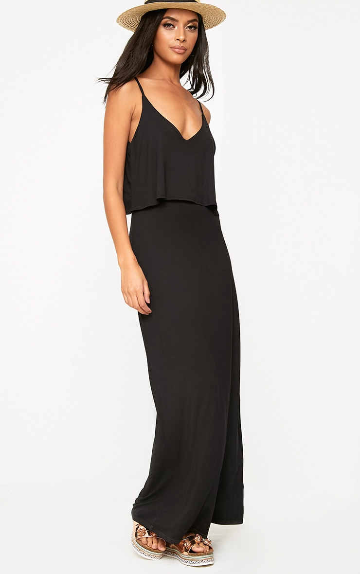Black Jersey Double Layer Maxi Dress 1