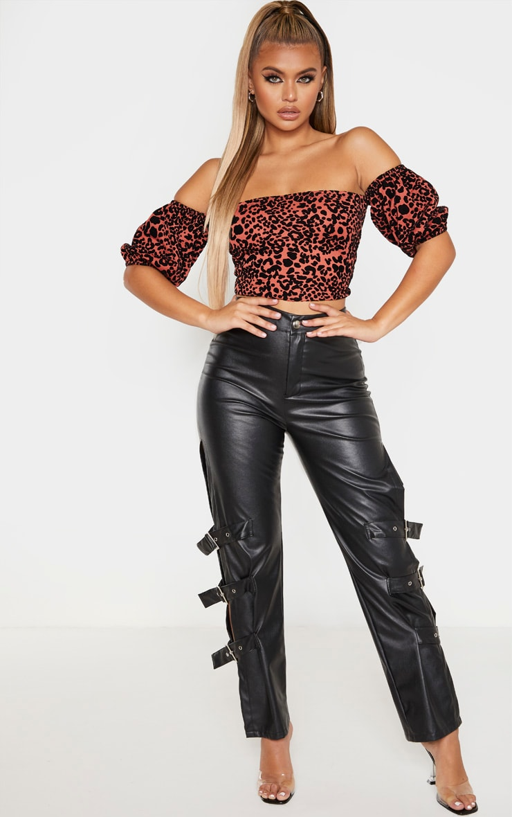 Orange Velvet Leopard Bardot Top  4