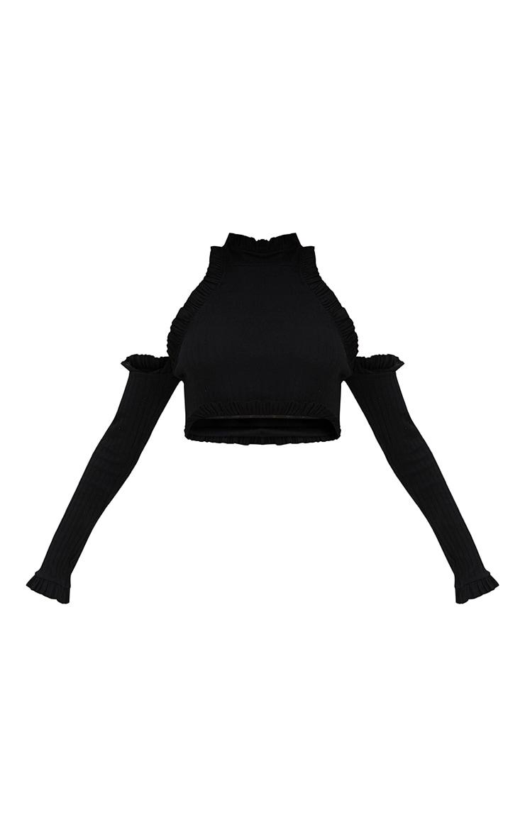 Black Ribbed High Neck Frill Cold Shoulder Crop Top 3