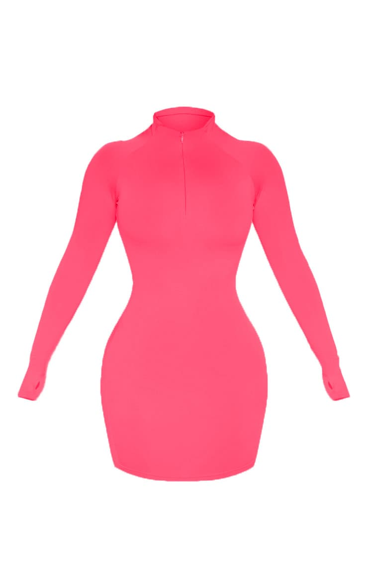 Hot Pink Slinky Long Sleeve Zip Up Bodycon Dress 3