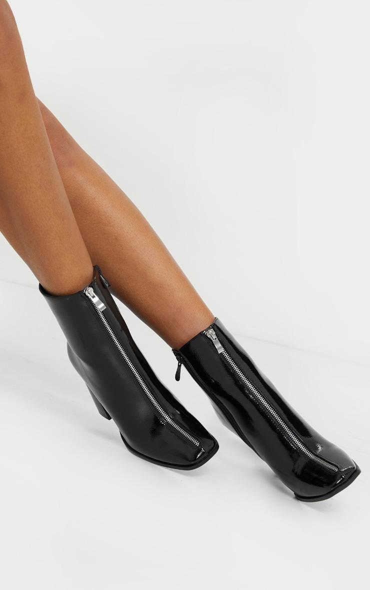 Black Zip Front Block Heel Ankle Boot 2