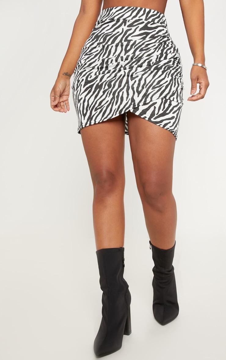 Shape White Zebra Print Ruched Side Split Bodycon Skirt  2