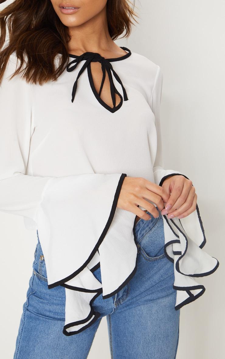 Cream Contrast Frill Sleeve Blouse 5