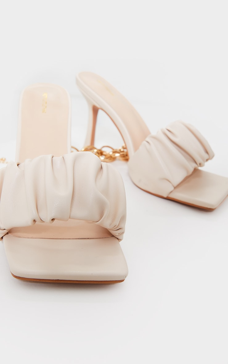 Cream WIDE FIT PU Ruched Square Toe Heeled Mules image 3