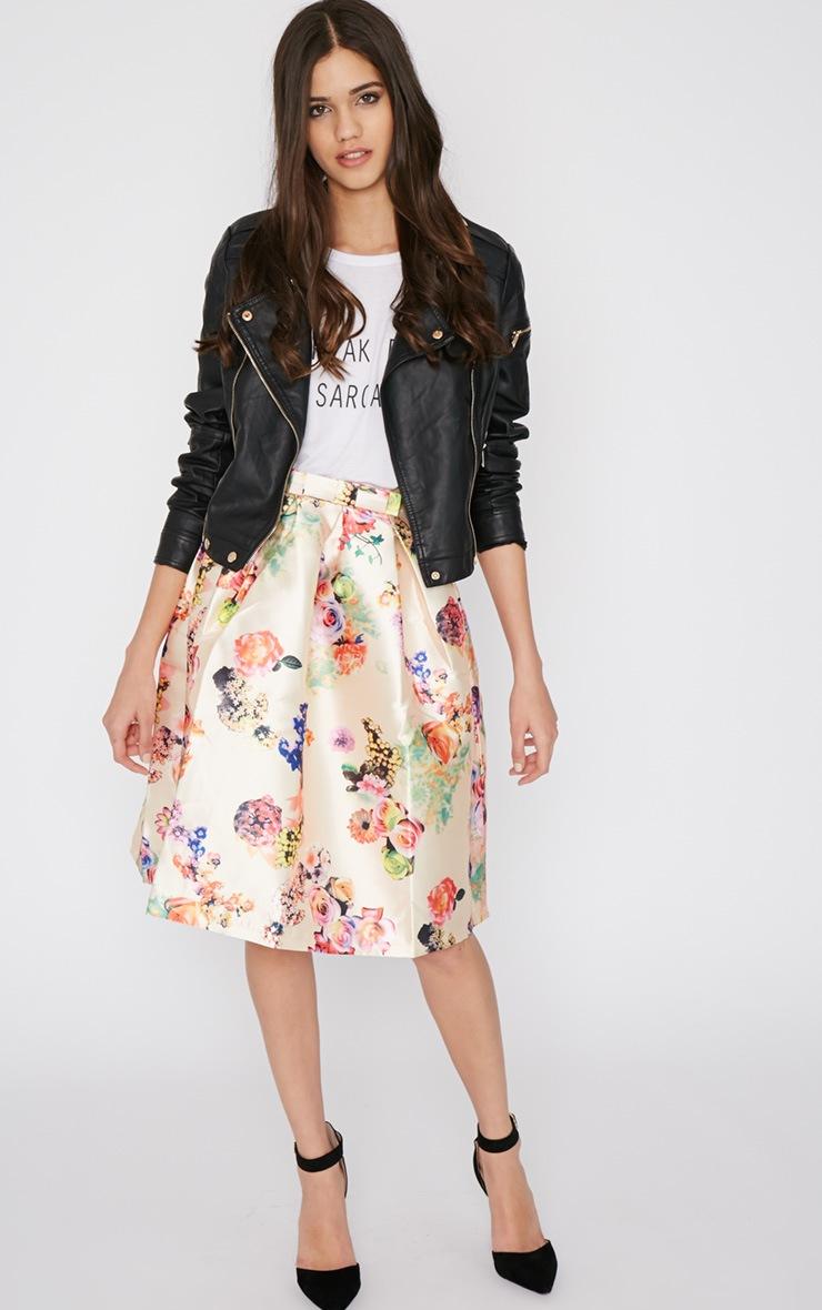 Harley Cream Floral Print A-Line Skirt 5