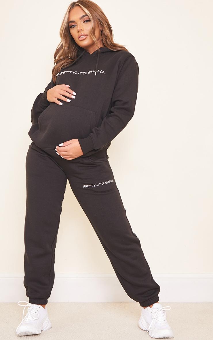 Maternity Black Over Bump Embroided Pretty Little Mama Joggers 1