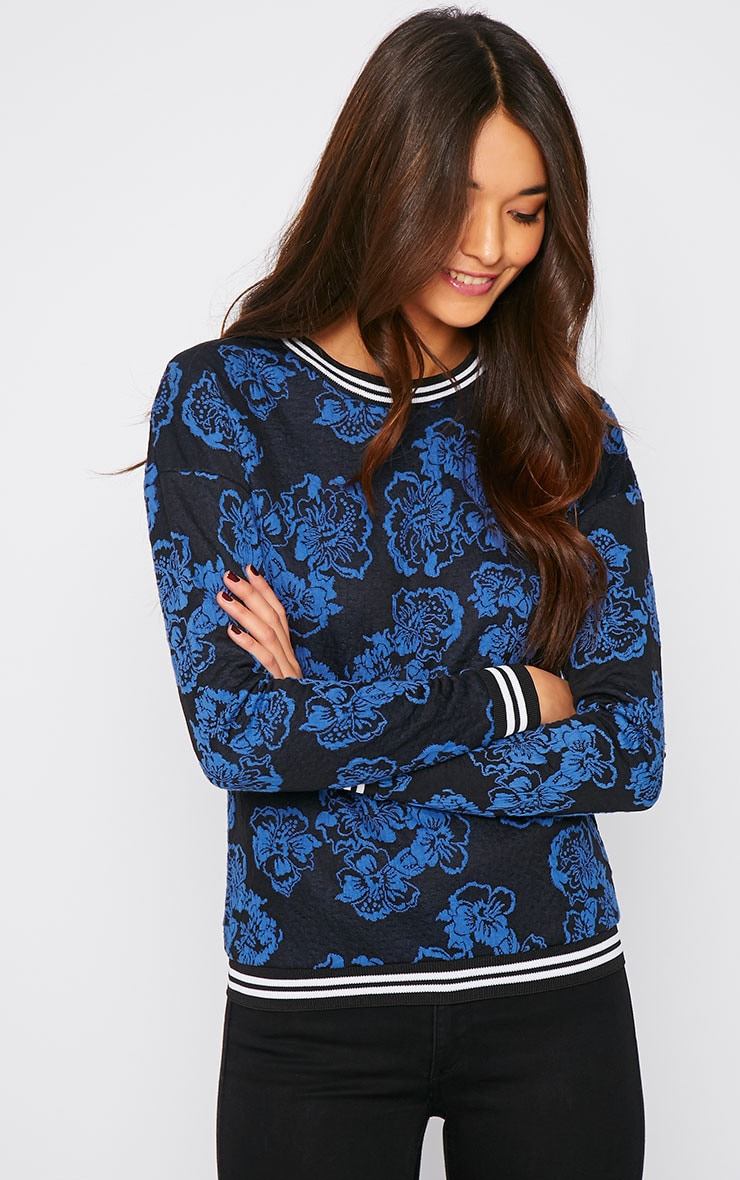 Valentina Blue Floral Embroidered Sports Trim Sweater 4