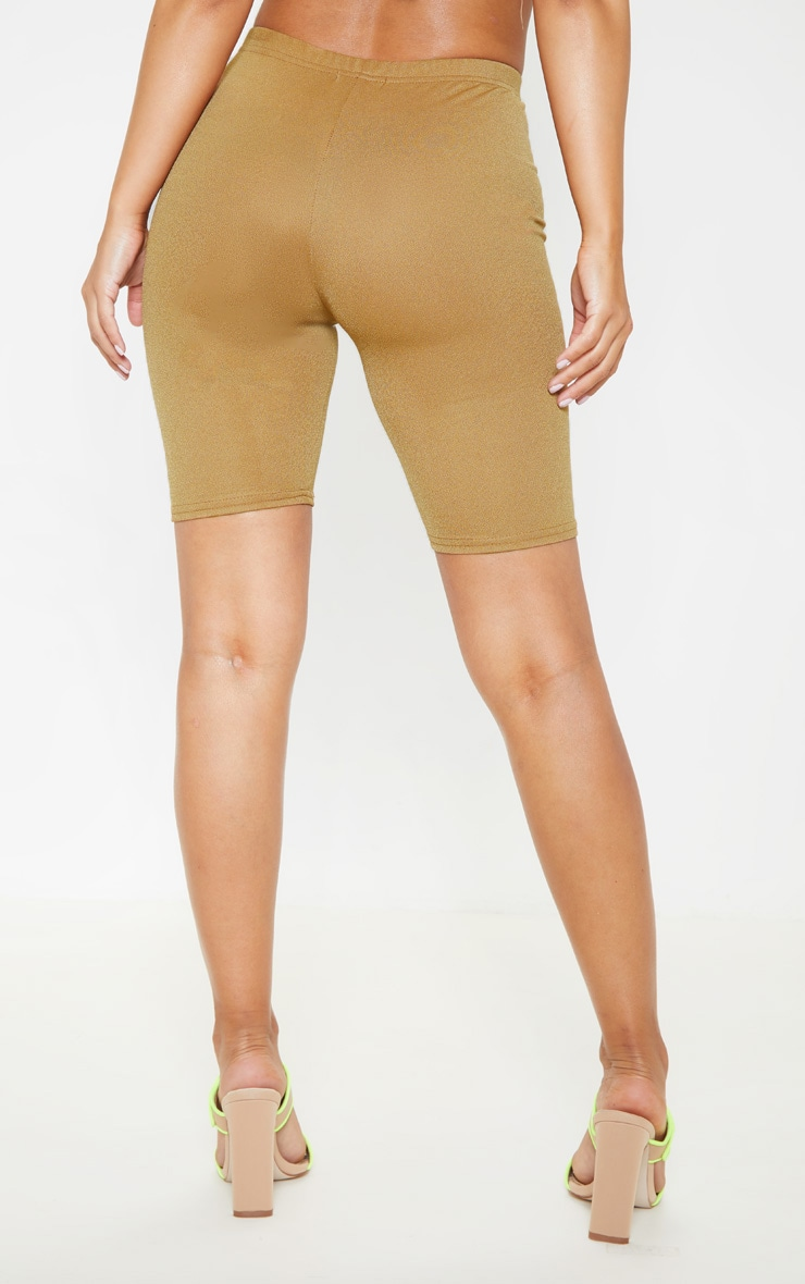 Petite Camel Stretch Crepe Cycling Shorts 4