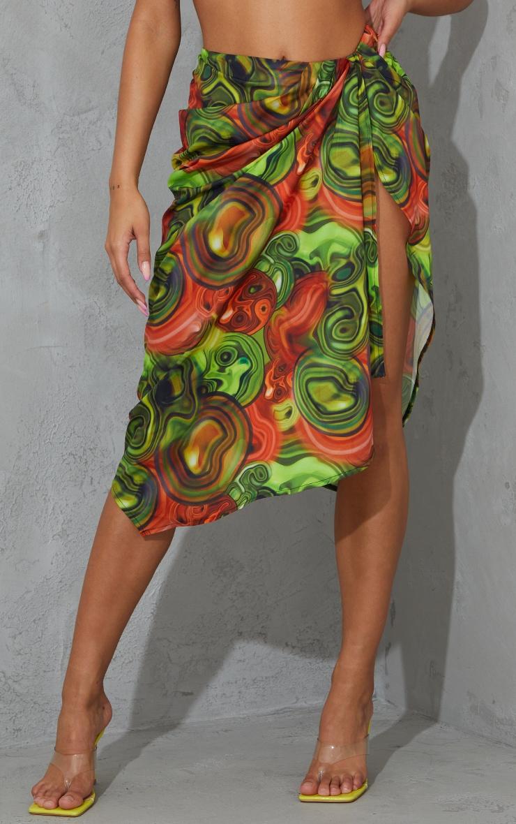 Yellow Abstract Swirl Woven Open Drape Front Midi Skirt 2