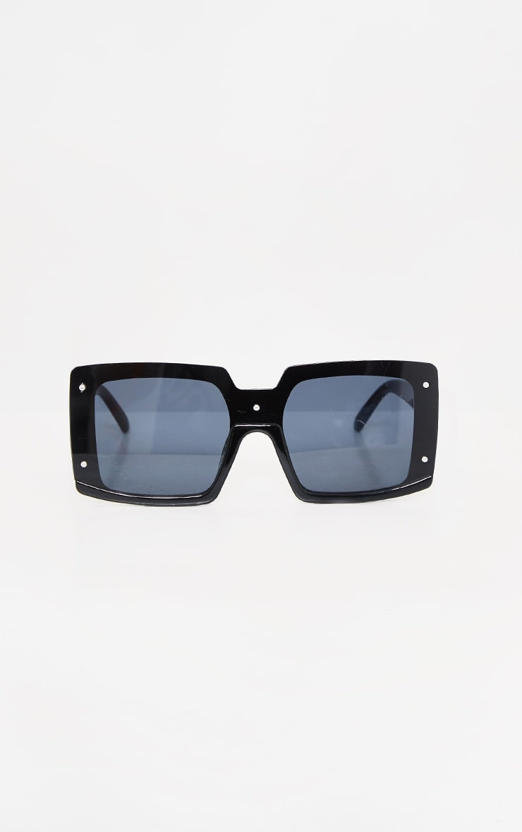 Black Lens Square Frame Oversized Sunglasses 3