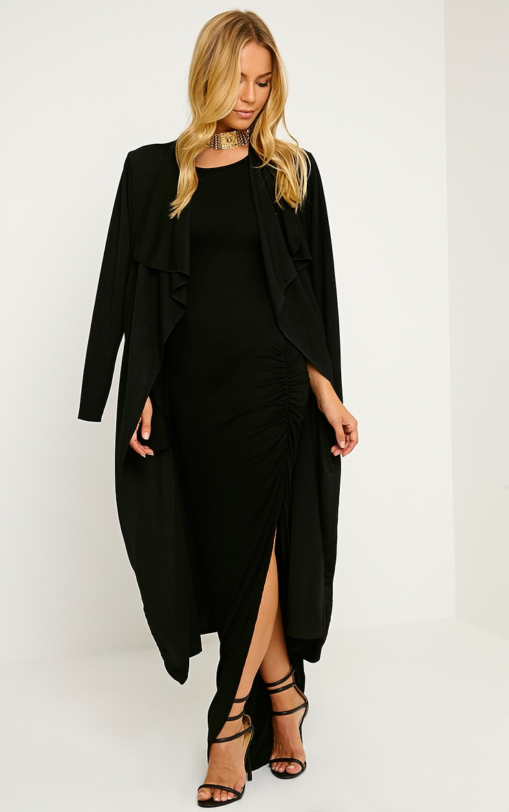 Basic Black Ruched Cap Sleeve Maxi Dress 3