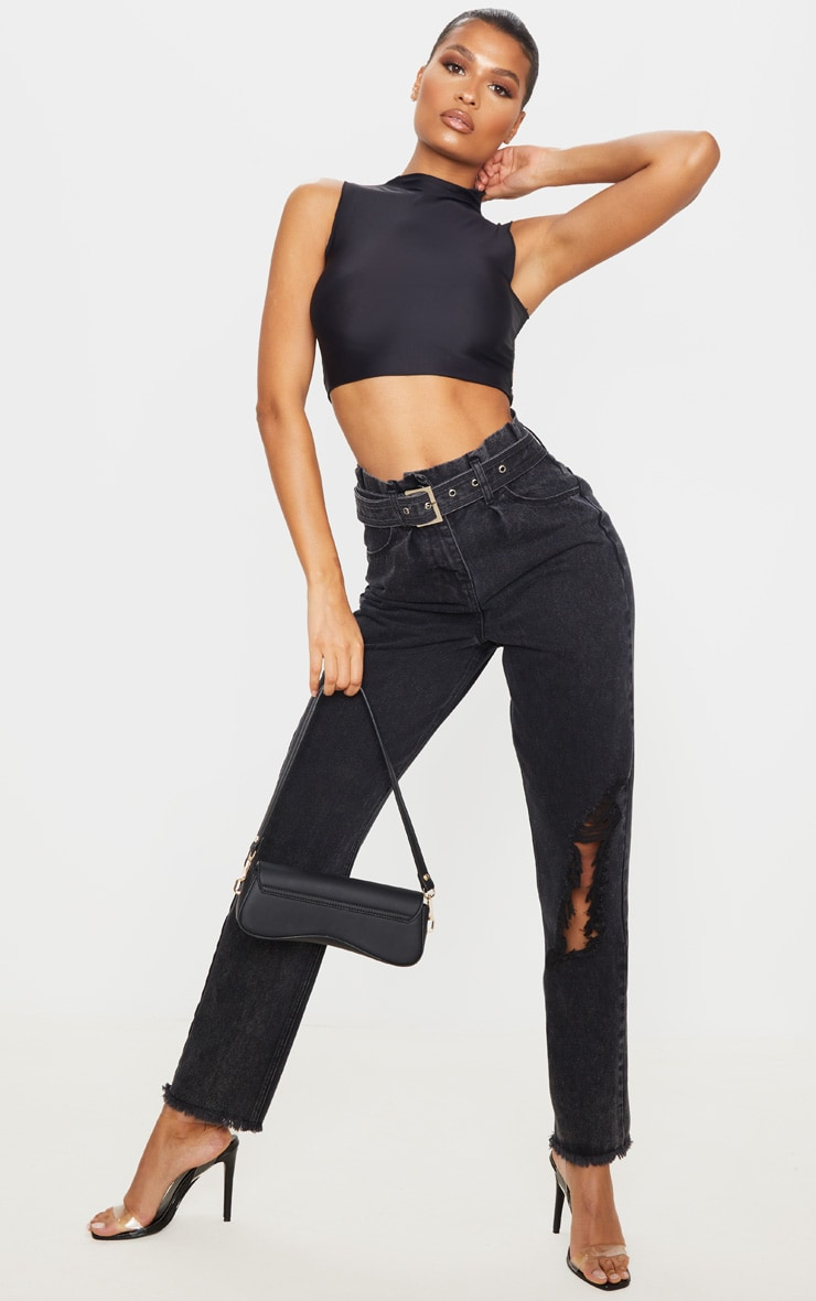 Washed Black Distressed Knee Ripped Jeans 1