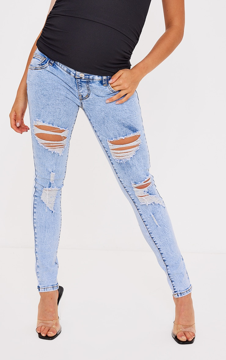 Maternity Blue Ripped Skinny Jeans 2