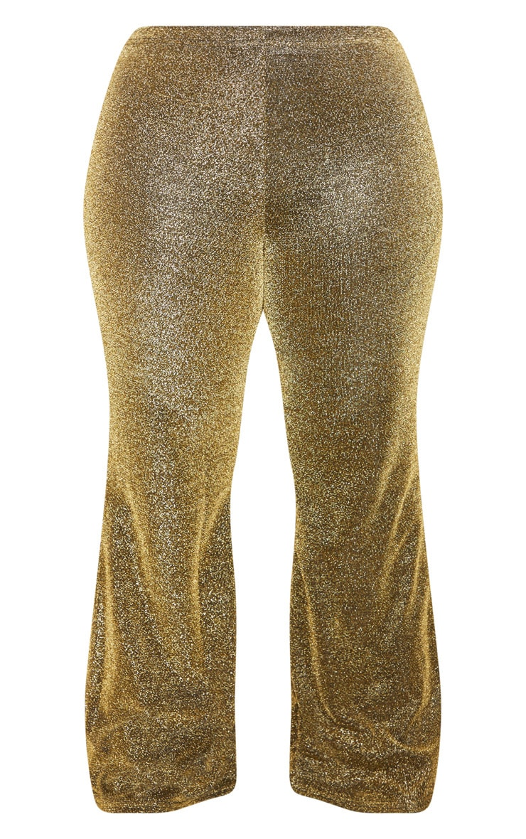 Plus Gold Glitter High Waisted Flare Leg Pants 4