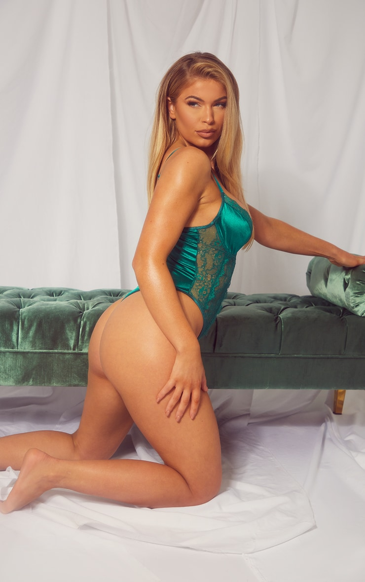 Emerald Green Lace Panel Satin Underwired Body 2