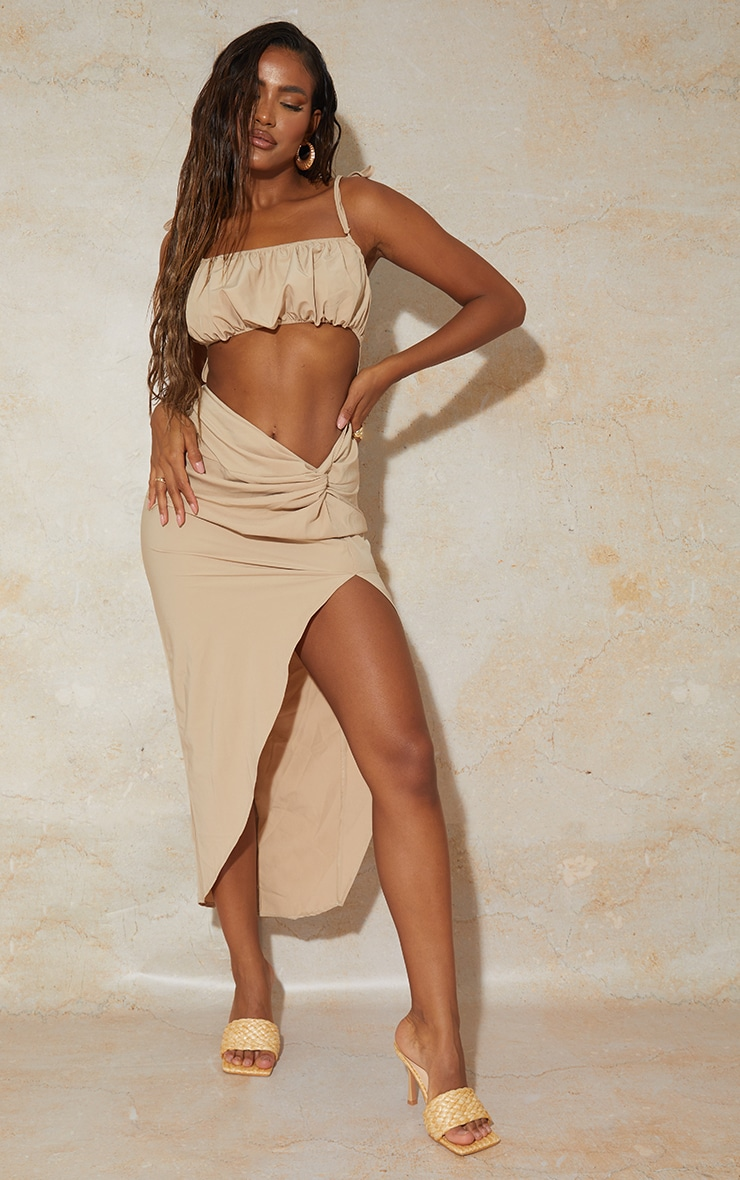 Stone Strappy Cut Out Knotted Skirt Midaxi Dress 3