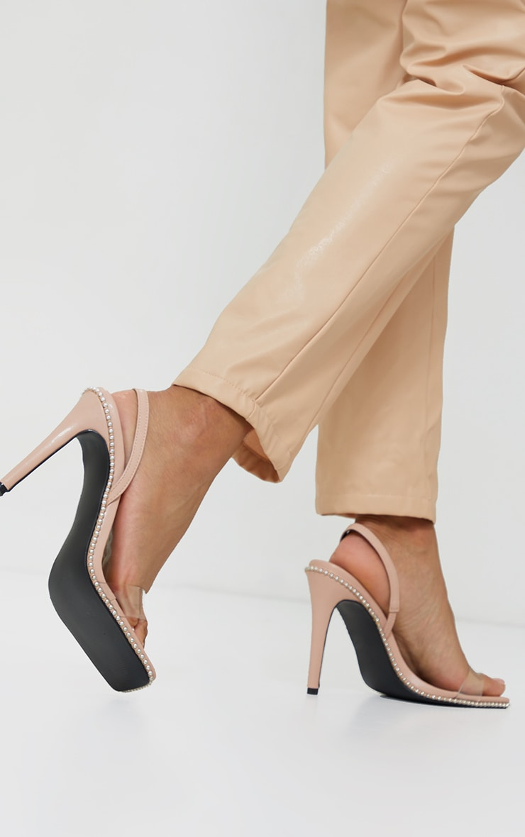 Nude Clear Strap Studded High Heels 2