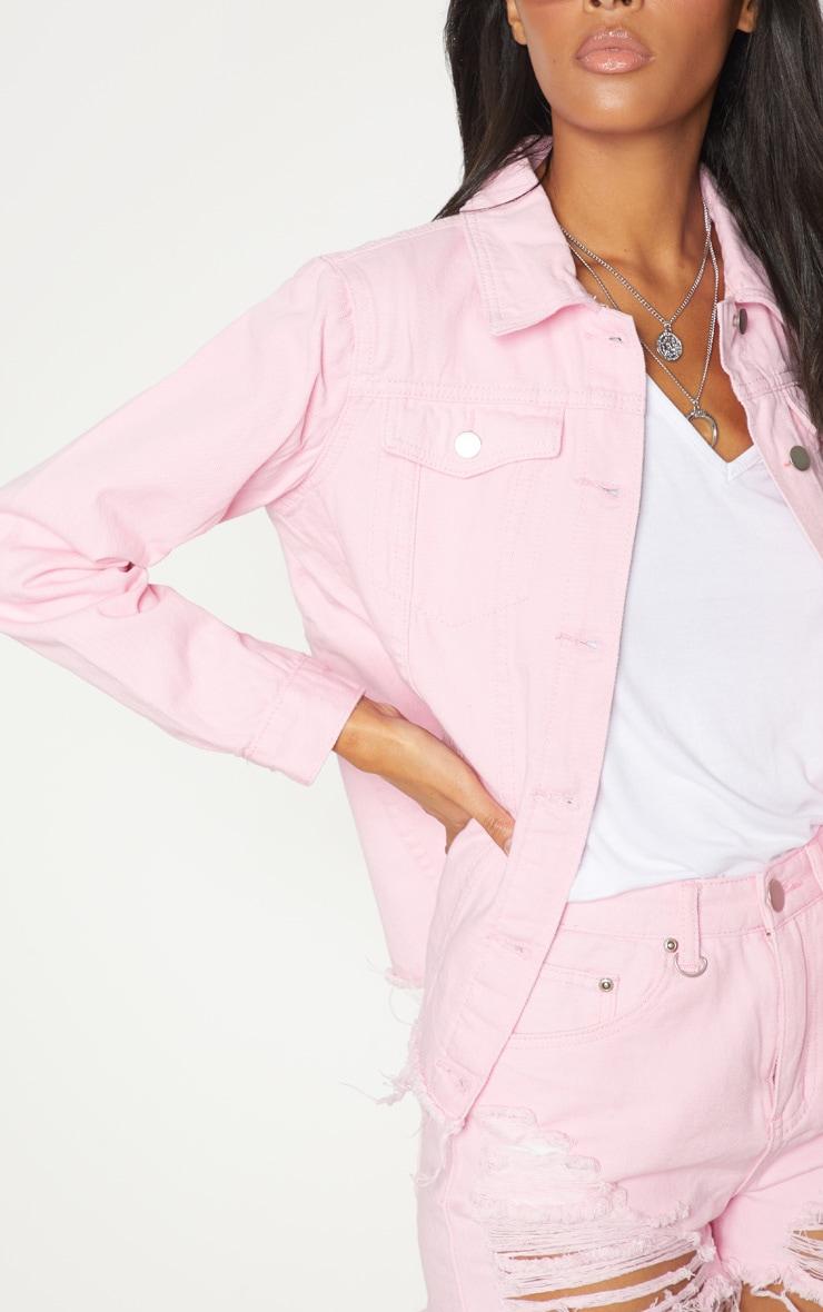 Pink Abegaila Oversized Denim Jacket 5
