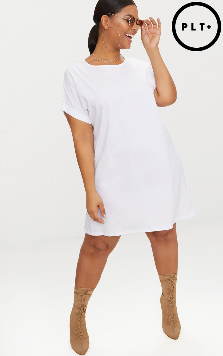Plus White Oversized Roll Sleeve T-Shirt Dress