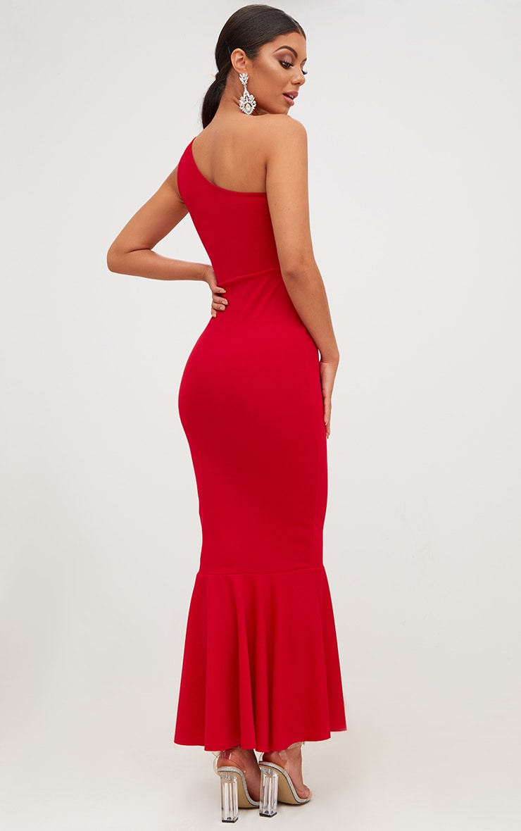 Red Ruffle Detail One Shoulder Midaxi Dress 2