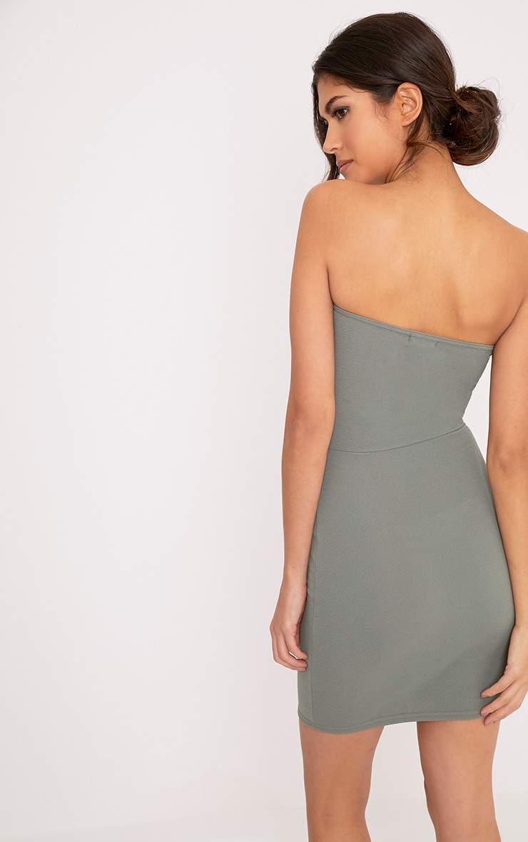 Darliella Khaki Bandeau Ruffle Detail Bodycon Dress 2
