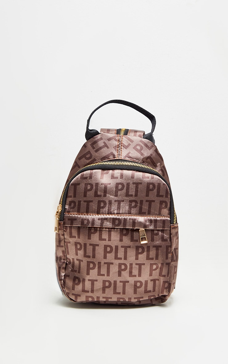 PRETTYLITTLETHING Brown Logo Satin Backpack 2
