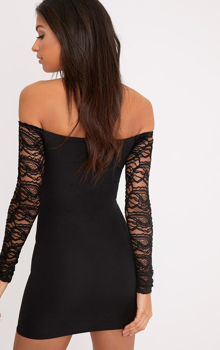 Larsia Black Lace Sleeve Bardot Bodycon Dress 2