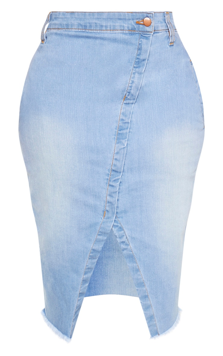 Shape Light Wash Wrap Denim Midi Skirt 3