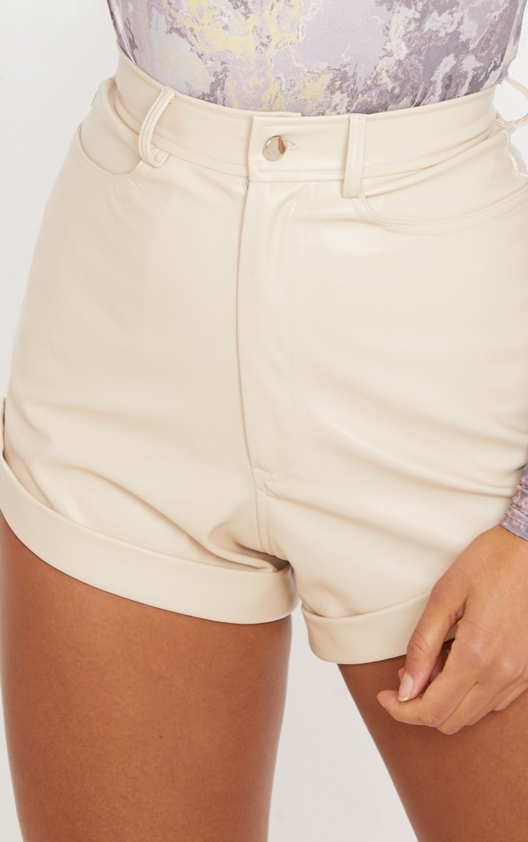 Cream Faux Leather Turn Up Hem Detail Shorts 6