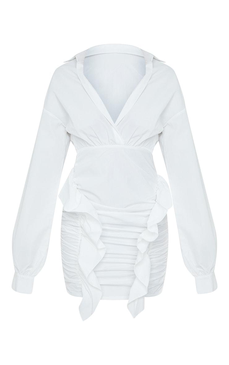 White Plunge Ruched Skirt Long Sleeve Shirt Dress 5