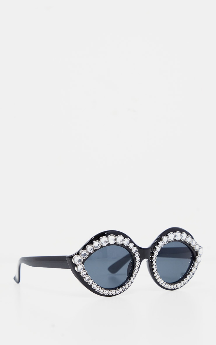 Silver Gemstone Black Frame Retro Cat Eye Sunglasses 2