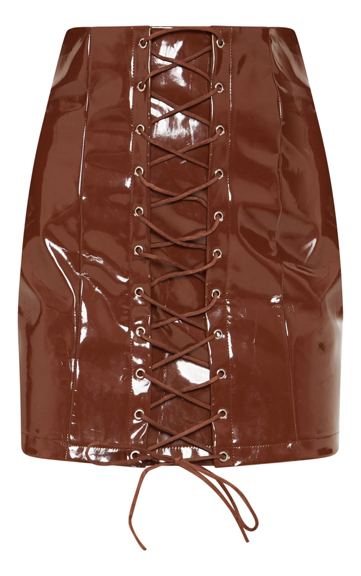 Chocolate Vinyl Lace Up Mini Skirt 3