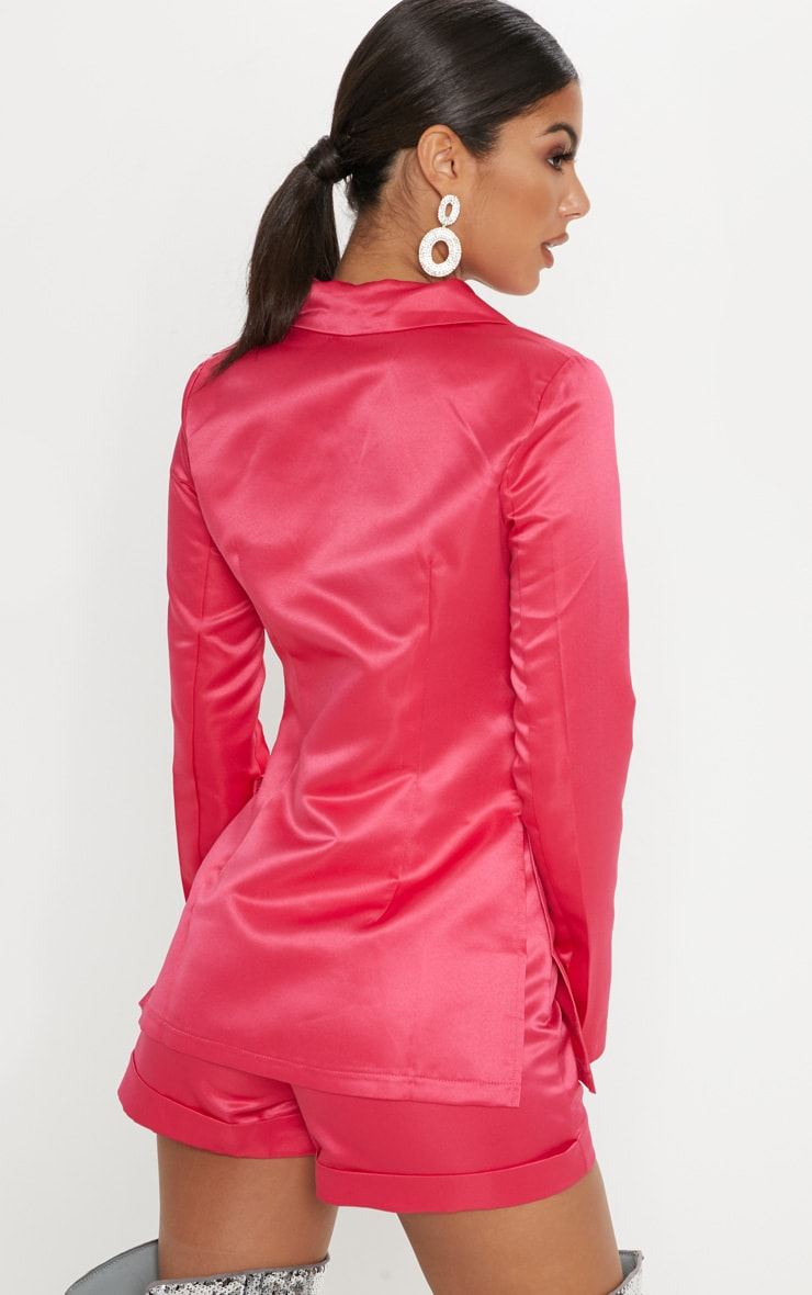 Hot Pink Double Breasted Satin Jacket 2