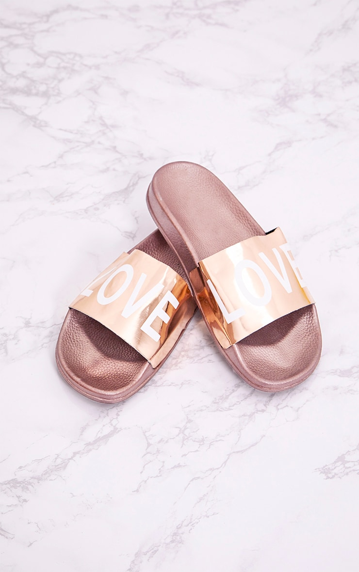 Rose Gold Metallic LOVE Sliders 1