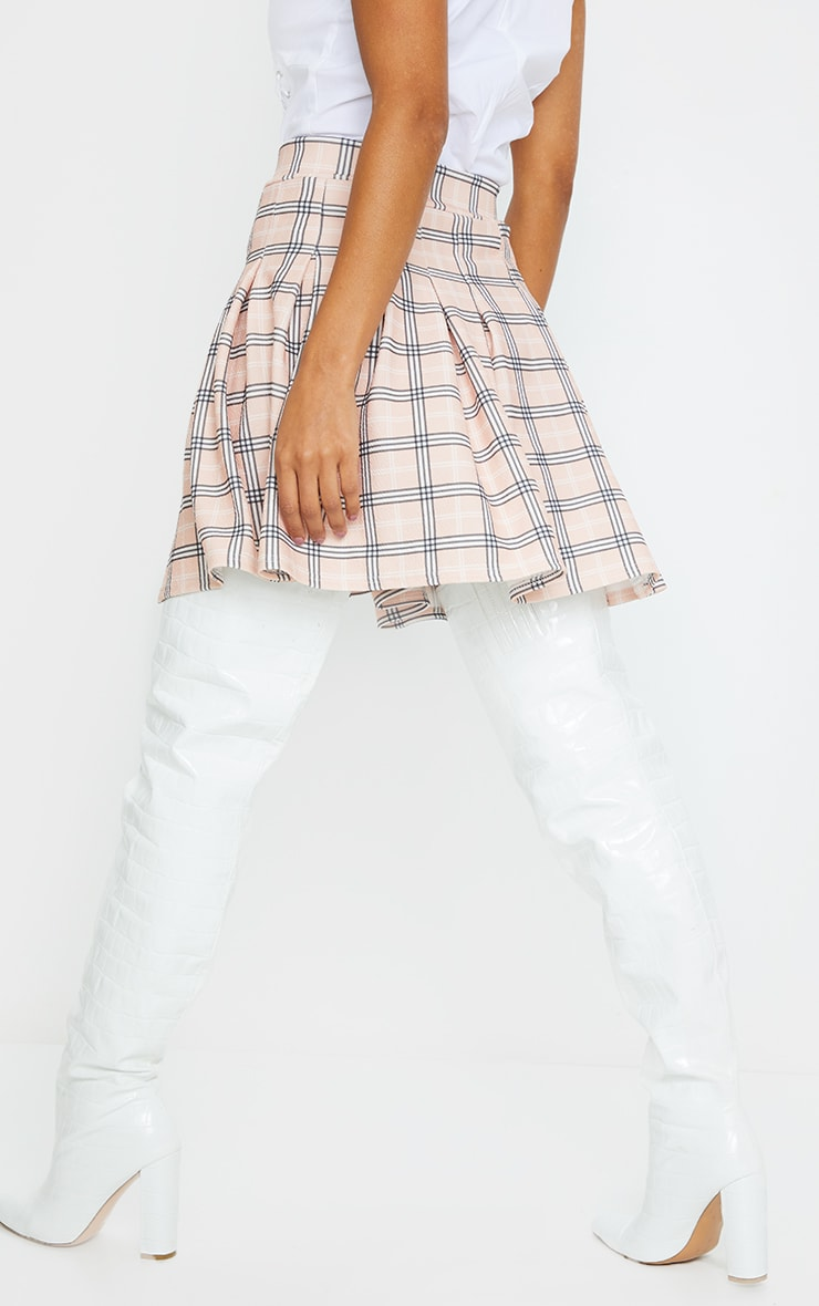 Pink Pleated Check Side Split Tennis Skirt 3