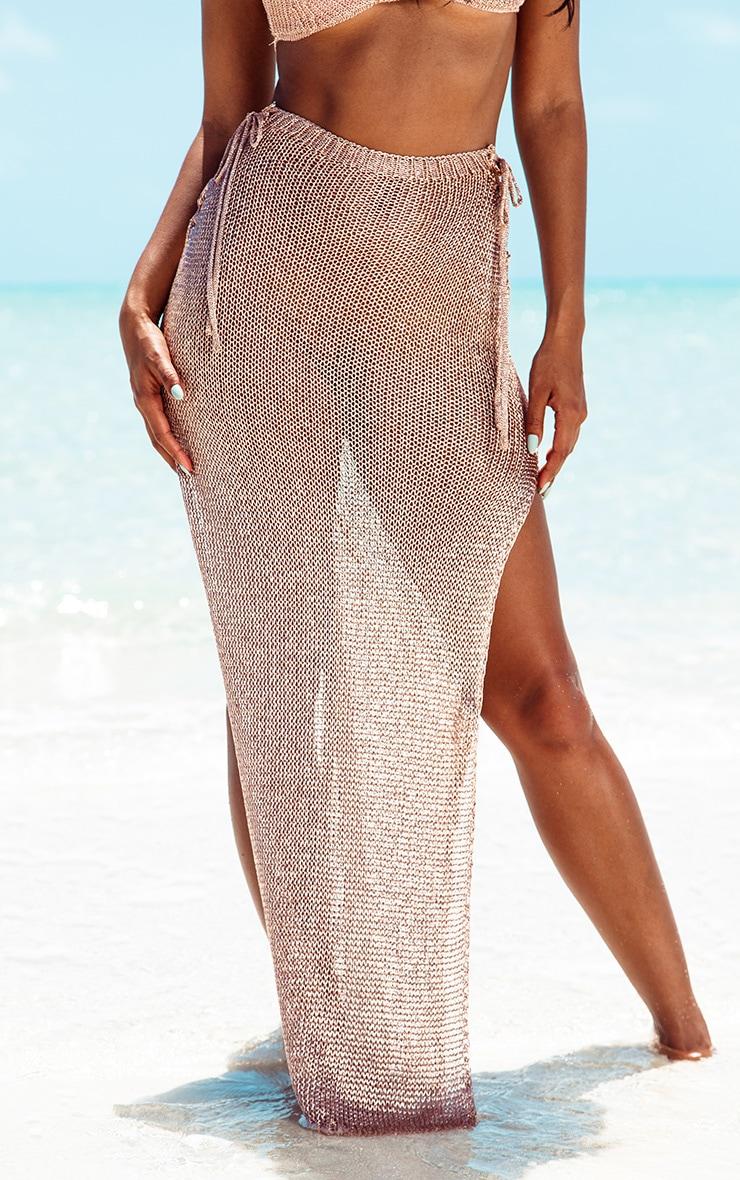 Rose Gold Metallic Knitted Maxi Skirt 2