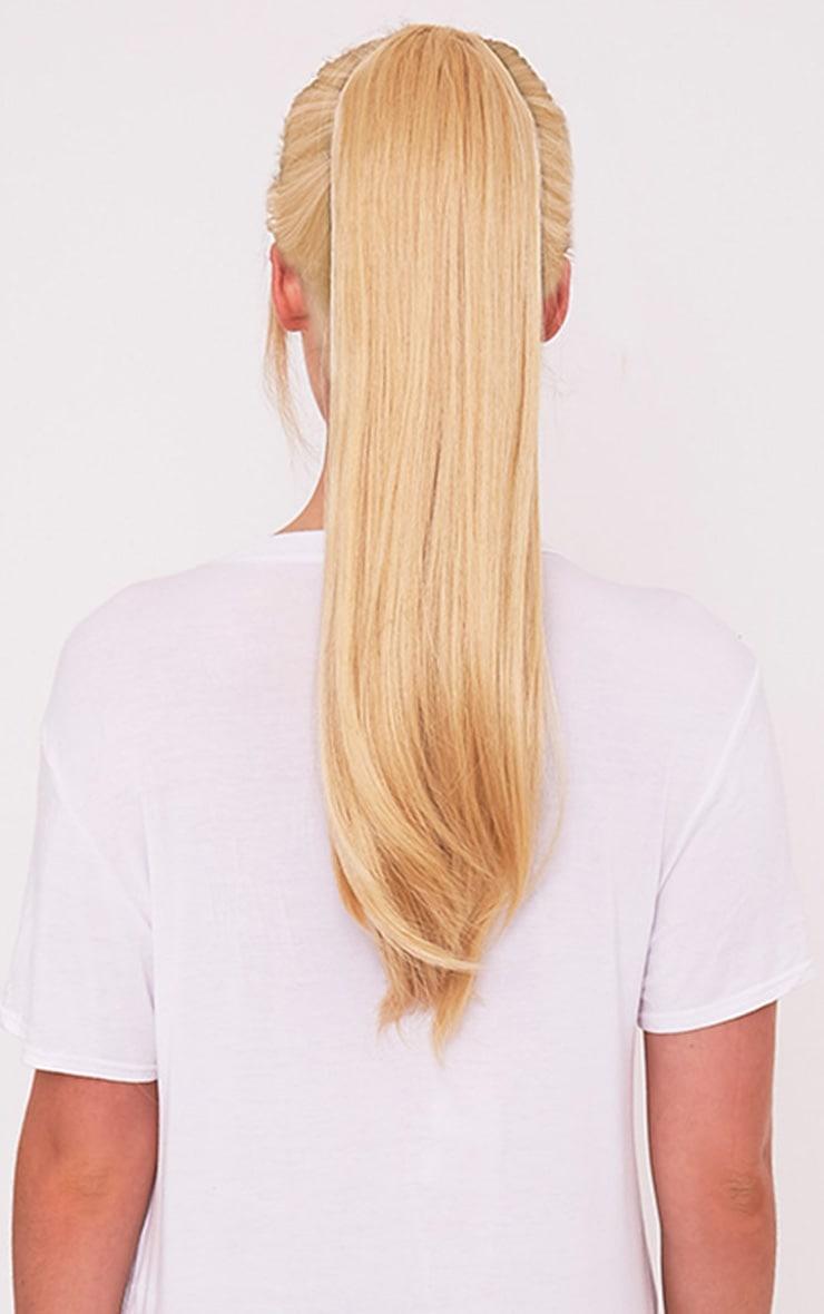 Golden Blonde Clip In Straight Ponytail 2