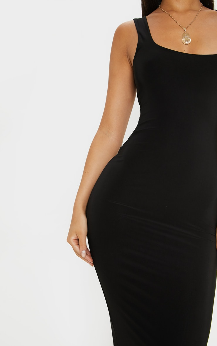 Black Slinky Strappy Midi Dress 5