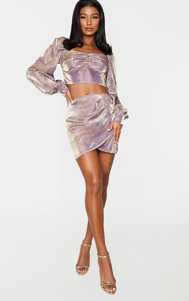 Lilac Textured Glitter Woven Square Neck Puff Sleeve Crop Top 3