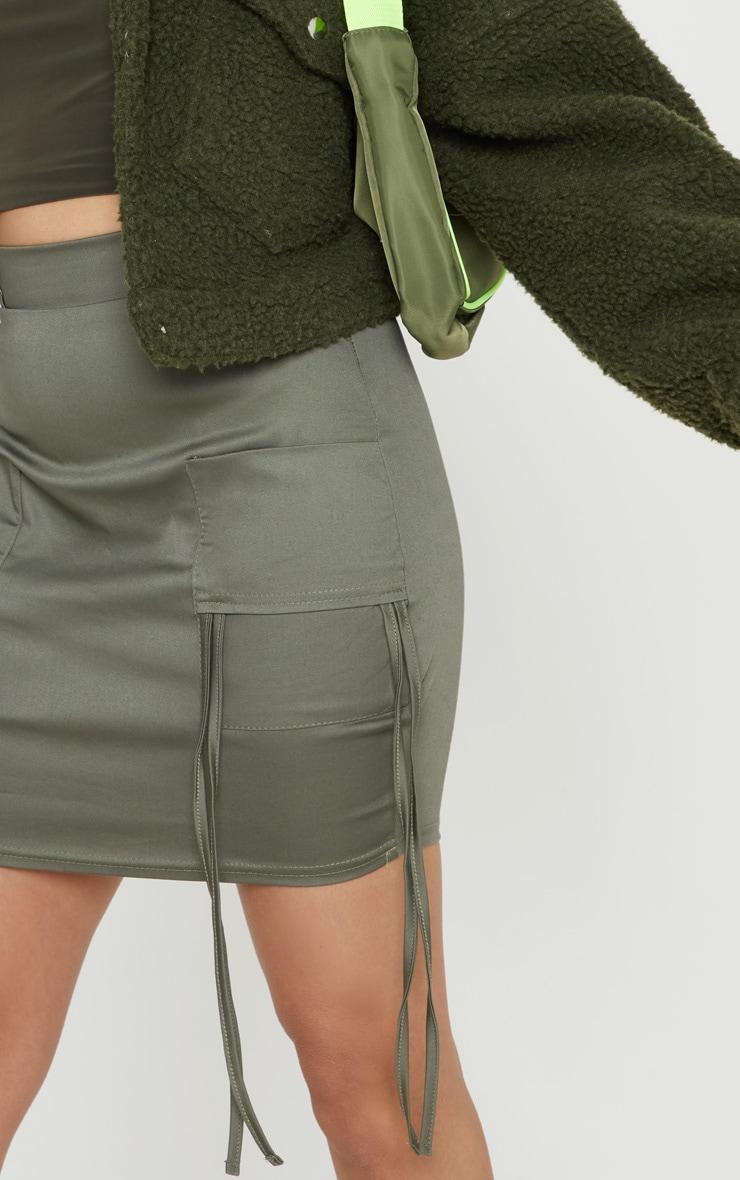 Petite Khaki Fitted Cargo Mini Skirt 6
