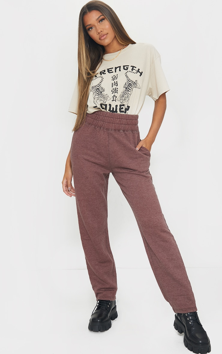 Brown High Waisted Washed Straight Leg Joggers 1