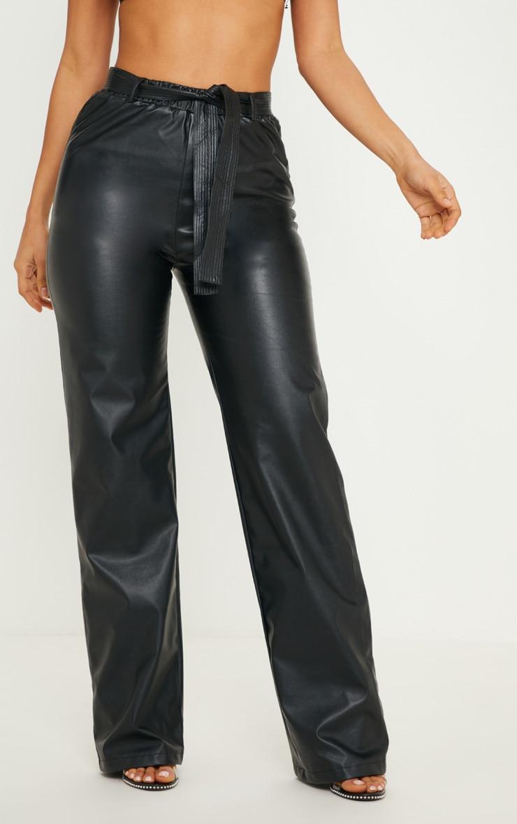Black Faux Leather Tie Waist Wide Leg Pants 2
