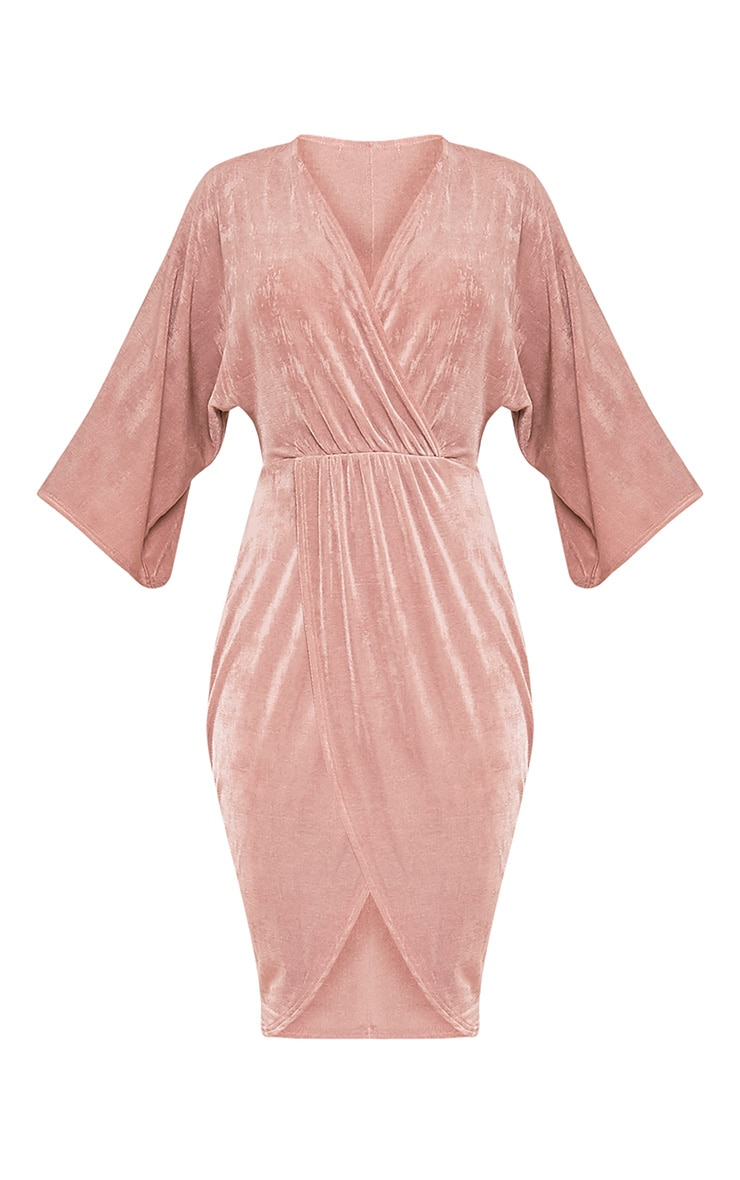 Meliana Dusty Pink Slinky Kimono Sleeve Midi Dress 3