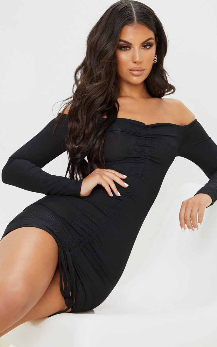 Black Ribbed Long Sleeve Bardot Ruched Bodycon Dress 5