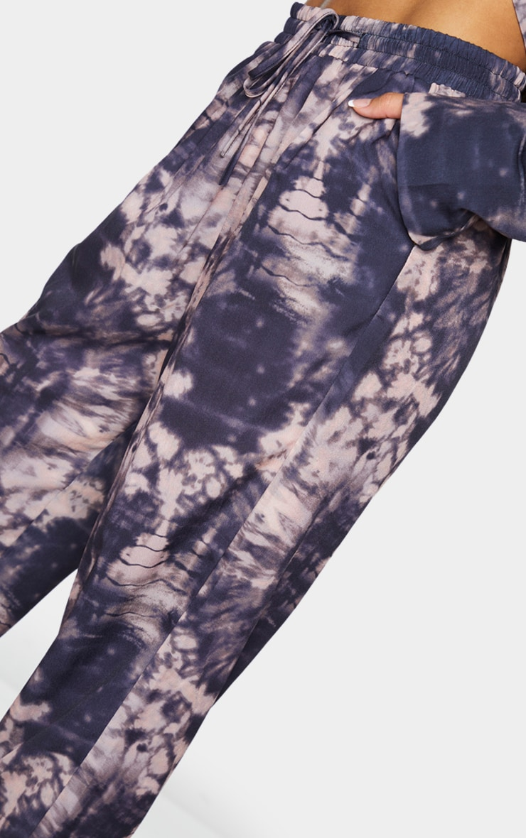 Grey Tie Dye Print Woven High Waisted Straight Leg Trousers 4